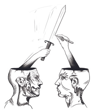HEAD TO HEAD  Hand-drawn digital illustration.