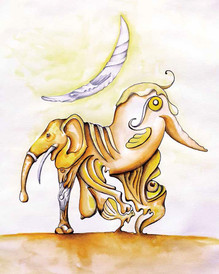 ELEPHANT, BIRD AND MOON LGHT  28x33cm Pen and Watercolor on Paper