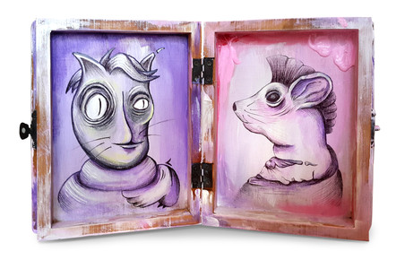 Brotherhood / Cat & Mouse  Pen and Acrylic Painting on Wooden Box