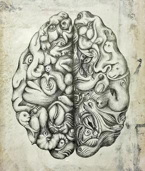 """FETISH OFFAL - BRAIN  Mixed media on duralite - 25x35cm   """"Fetiş Sakatat"""" serisi, iç organların fetiş objelere dönüştüğü, Kas, kemik, organ formlarını saptırıldığı 3 adet çalışmadan oluşmaktadır. Akrilik, kalem ve objelerle yapılmış olan işler, çoğu insanın içinde yaşadığı kanlı canlı bedenini unuttuğu bir dönemde, robotlaştırılmış, farkındalığı alınmış siber hayatlara bir hatırlatma amacı taşımaktadır."""