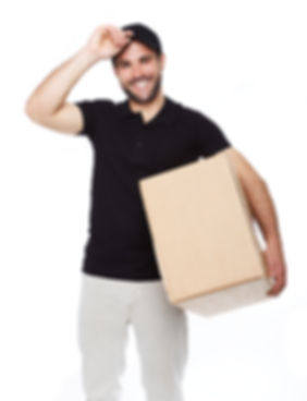 Smiling delivery man giving cardbox on w