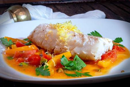 Cod Pepper Tomato Saute