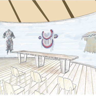 This space can be converted from lecture space to tribal meeting room as well as being suitable for social functions.  Display cases surround the tepee inspired room.