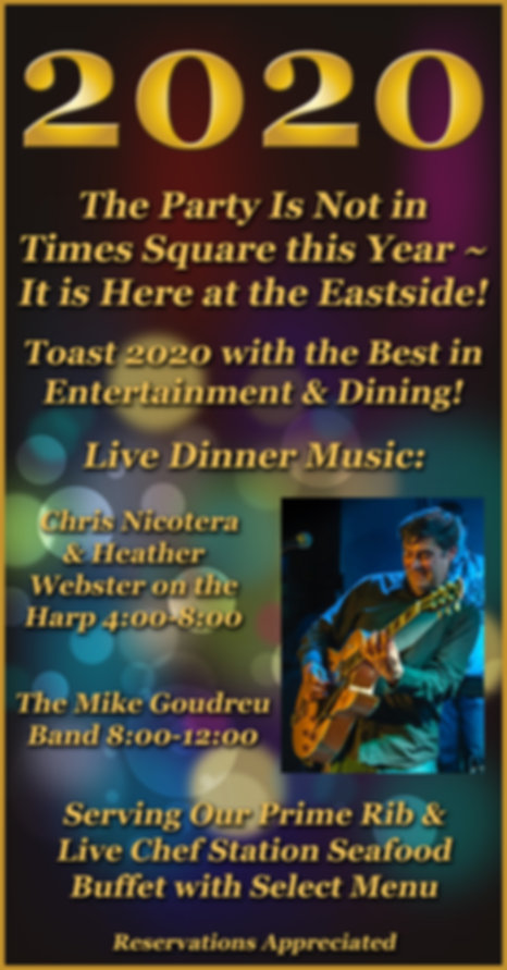 New Years Eve, 2020, Eastside Restaurant, Newport, Vermont, Music, Mike Goudreu, Buffet,