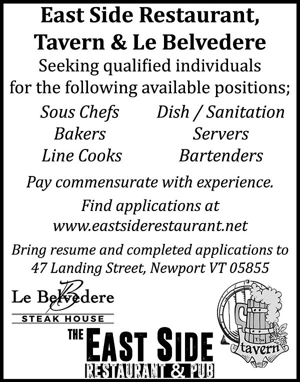 Jobs, Newport, Vermont, East Side, Tavern, Le Belvedere, Restaurant, Bar, Waitress, Chefs,
