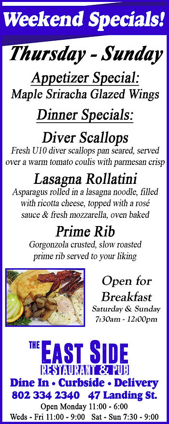 Dinner Specials, East Side Restaurant, Newport, Vermont, Breakfast, Dining, Take Out,