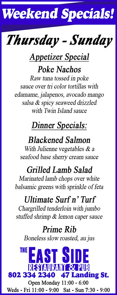 Dinner specials, East Side Restaurant, Newport, Vermont, Prime Rib, Seafood,