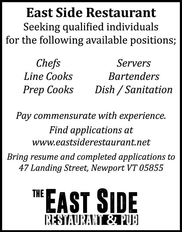 Jobs, East Side, Restaurant, Newport, Vermont, Chef, Bartender, Waiter, Hiring, Summer