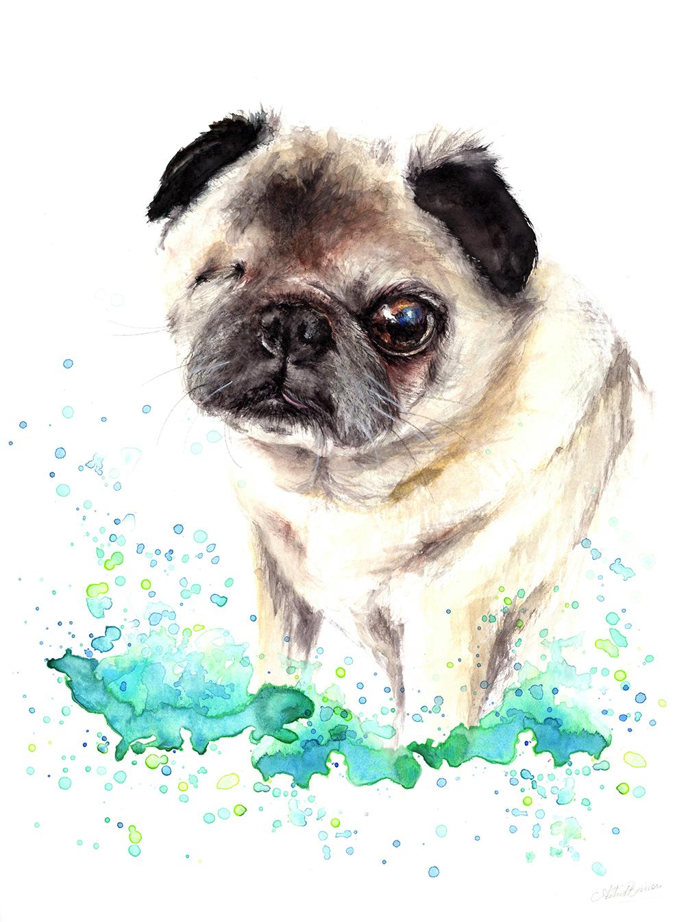 Custom Pet Portrait - Pug