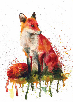Watercolour Fox painting