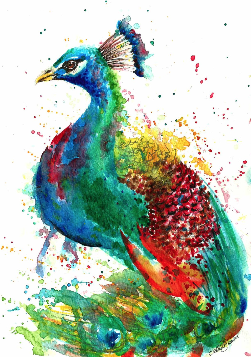 Watercolour Peacock Painting