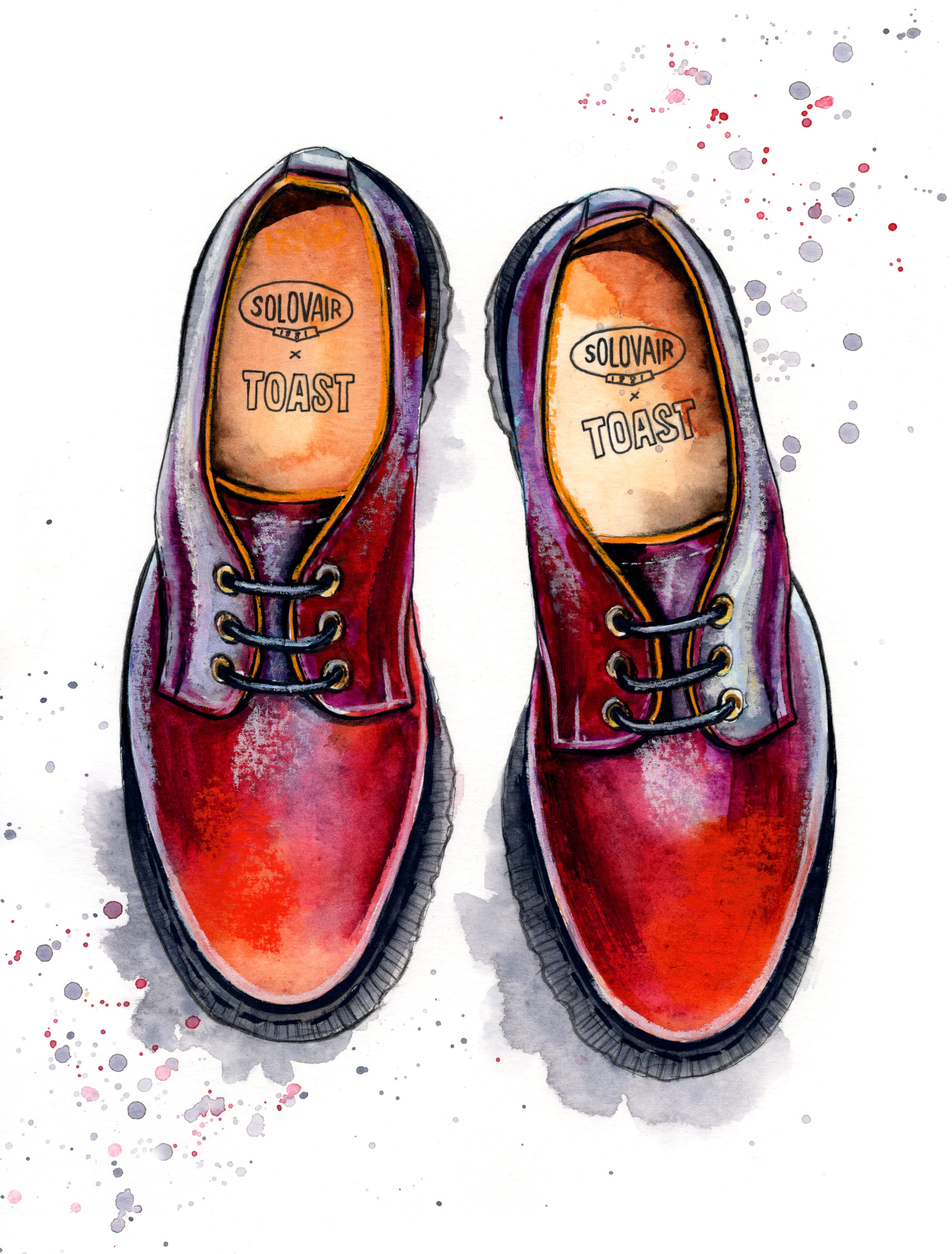 Solovair x TOAST shoes illustration