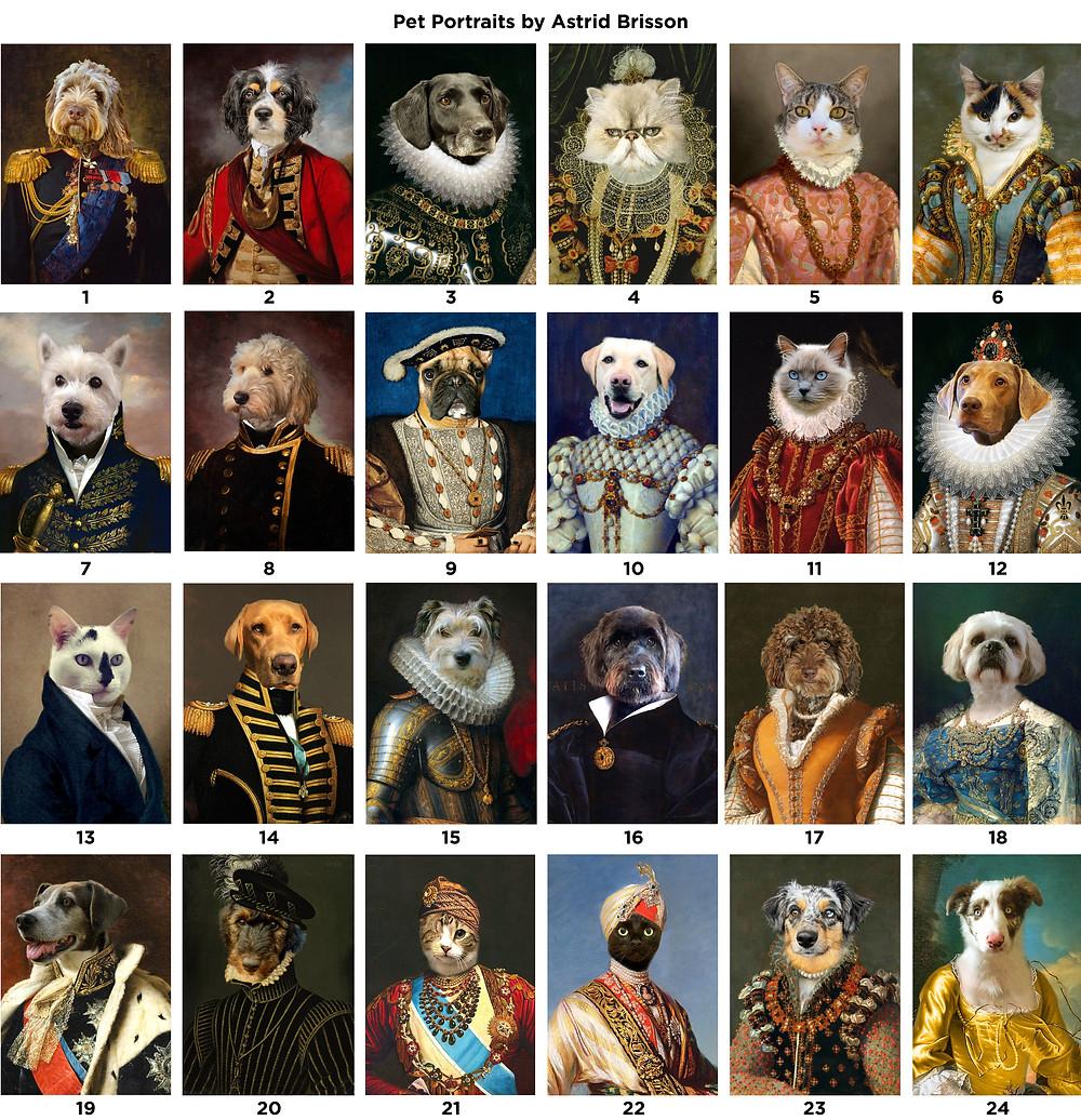 Regal pet portraits, pets in uniform