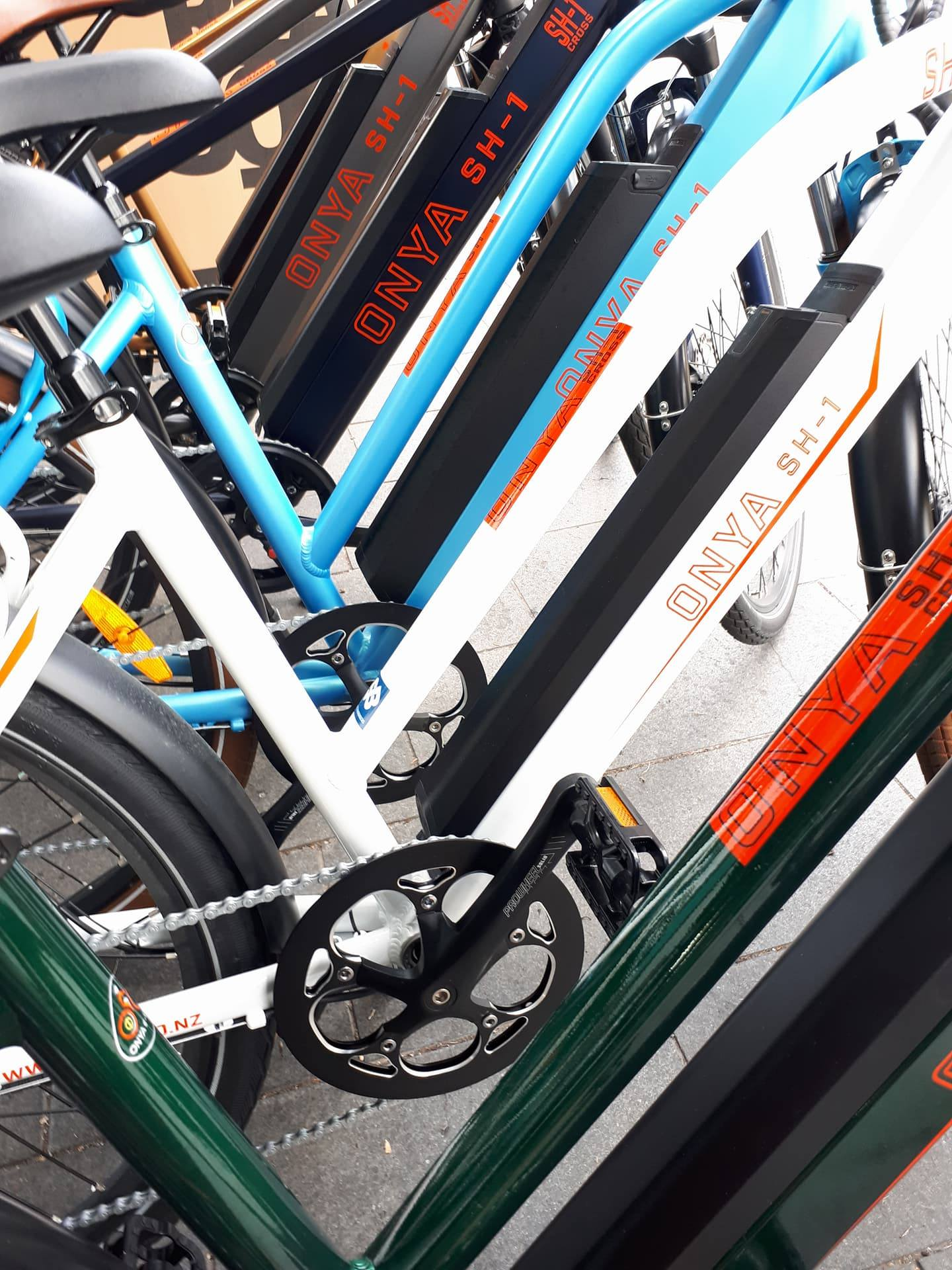 Row of ONYA SH1 E Bikes