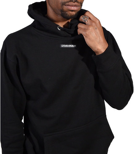 BLACK BASIC HOODED SWEATER