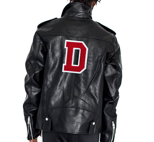 Letter leather moto