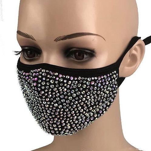 Black/Rainbow Bling Face Mask