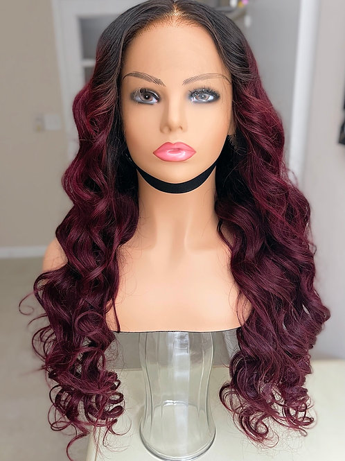 Burgundy Indian Lace Wig