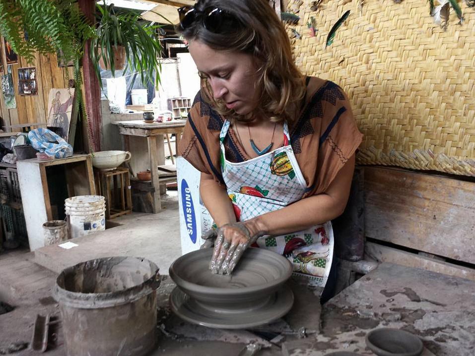 Working on a Kick wheel in Quitos, Ecuador 2016