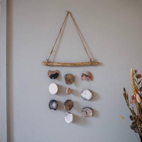 Driftwood wall hanging with Smoke fired pieces