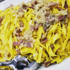 Tagliatelle with Bacon and shallot