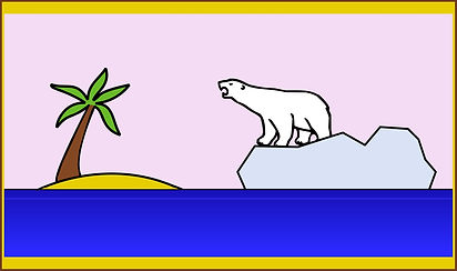 clipart, polar bear floating past tropic