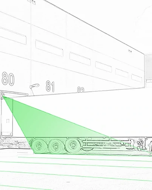 Laser lastausalueen merkintään