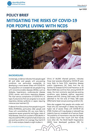 CNCDA policy brief COVID and NCDs April
