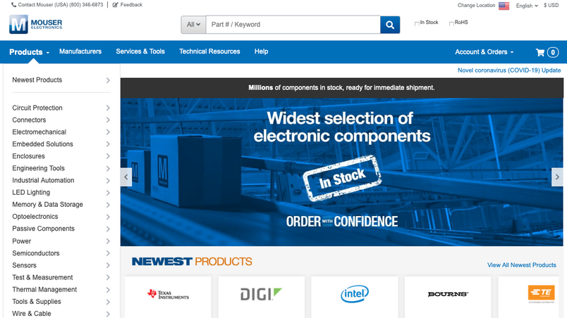 Mouser Electronics Header & Home Page