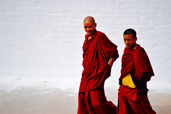 Monks at stupa