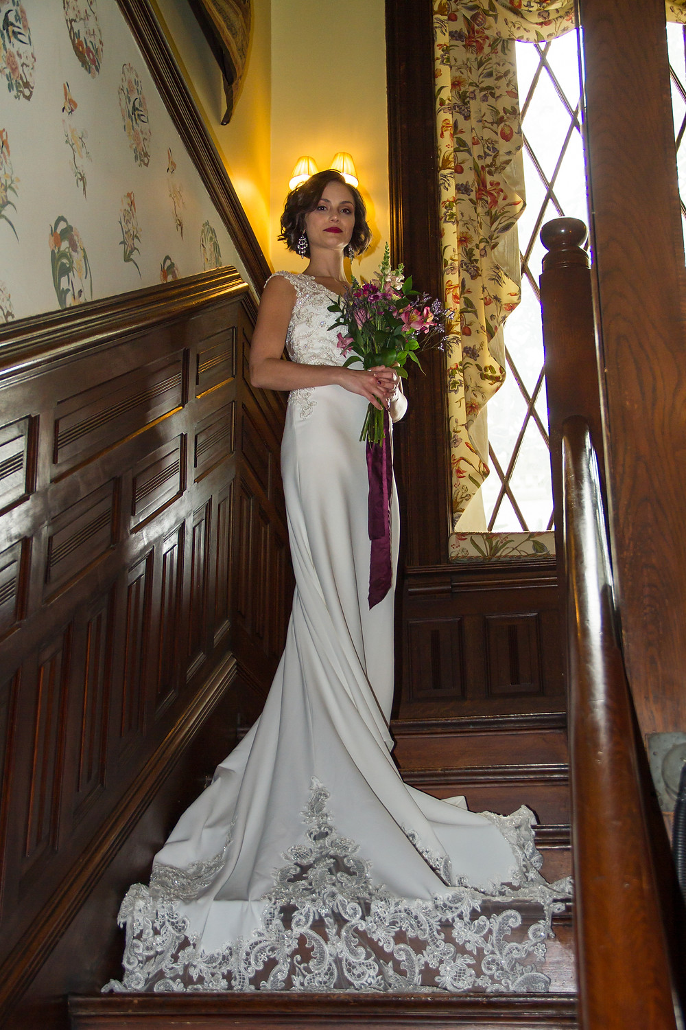 Photo by Luke Usry. Staircase of Burke Mansion.