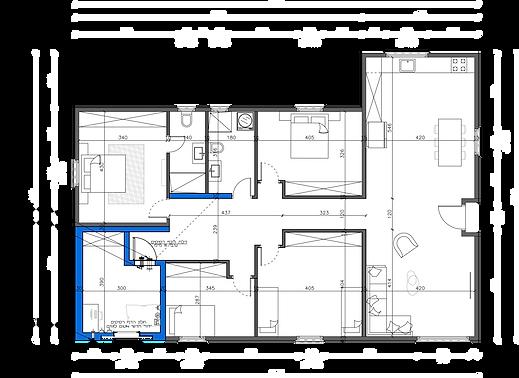 """שרטוט של מבנה יביל 150 מ""""ר 7 חדרים"""