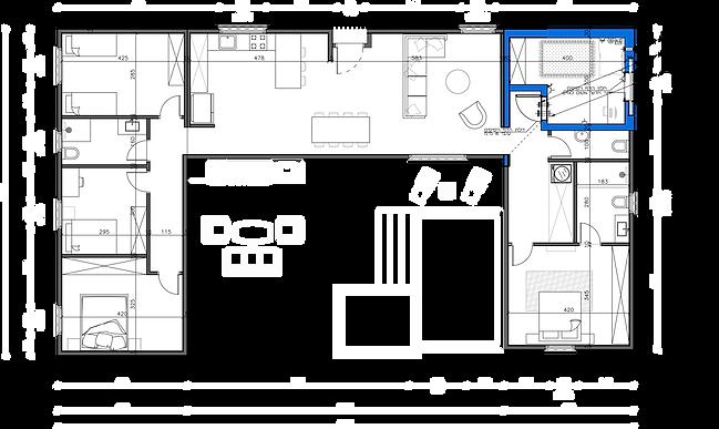 """שרטוט של מבנה יביל 150 מ""""ר 6 חדרים"""