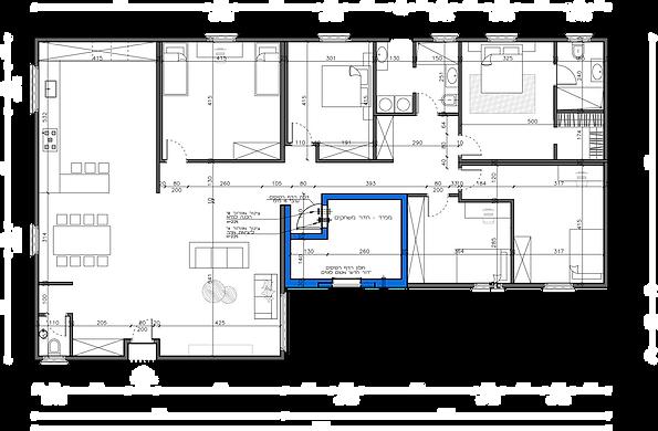 """שרטוט של מבנה יביל 200 מ""""ר 7 חדרים"""