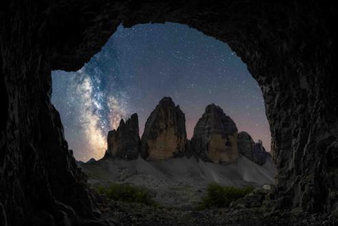 Die Milchstraße über den Drei Zinnen