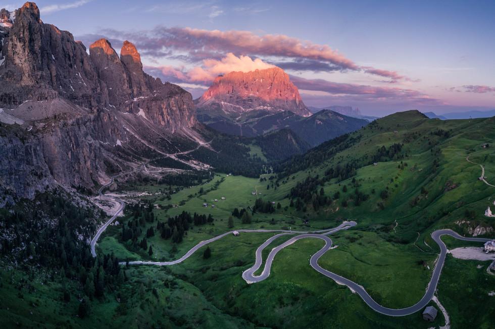 Alpenglühen am Grödner Joch