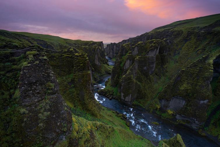Fjaðrárgljúfur im Abendlicht