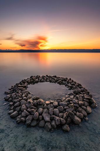Steinkreis im Sonnenuntergang