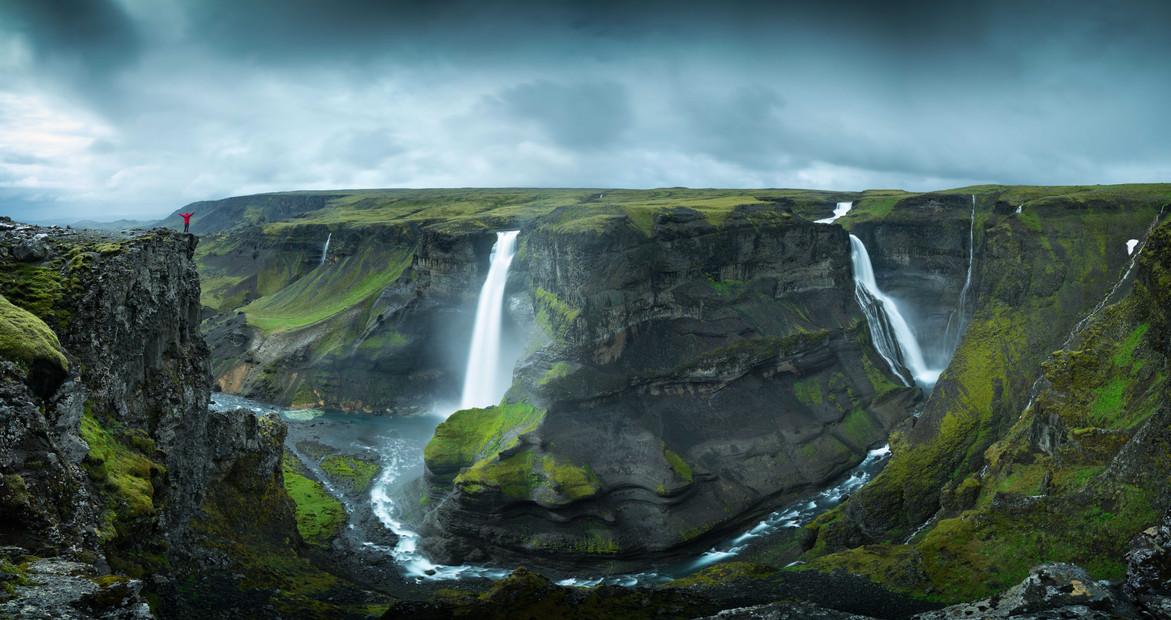 Panorama des Háifoss Wasserfall