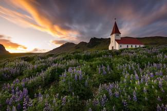 Die Kirche von Vik bei Sonnenuntergang