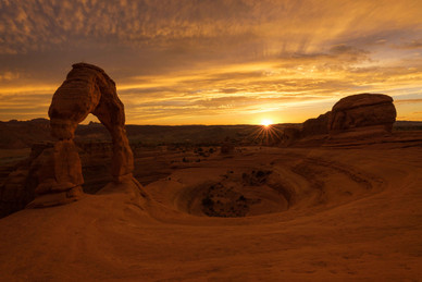 The golden Delicate Arch