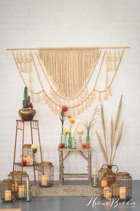 Macrame Backdrop, Copper Pedestal, Wooden Table, Copper Vases, Gold Lanterns, Boho Rug at The Winding House, Kent