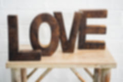 Dark Wood LOVE Wedding Sign Decorations