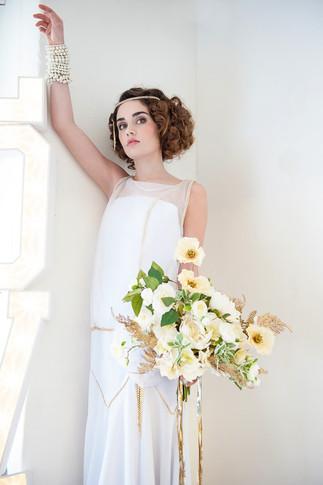 Cream Artificial Silk Flower Bridal Bouquet