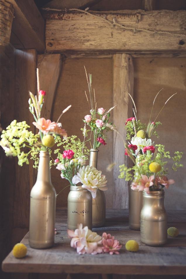 Seasonal Flower Wedding Reception Table Centres