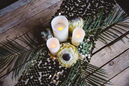 Boho Black and Gold Wedding Venue Styling by Bohotanical