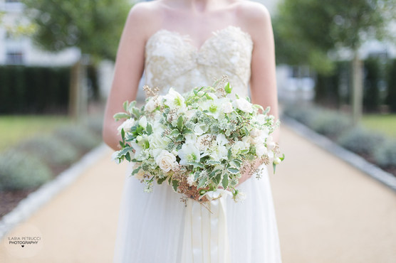 White, Green & Gold Bridal Bouquet