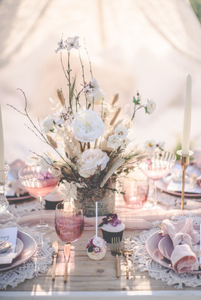 Dried and Faux Wedding Reception Table Centre