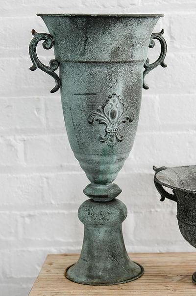 Verdigris Pedestal Urn for Floral Arrangements