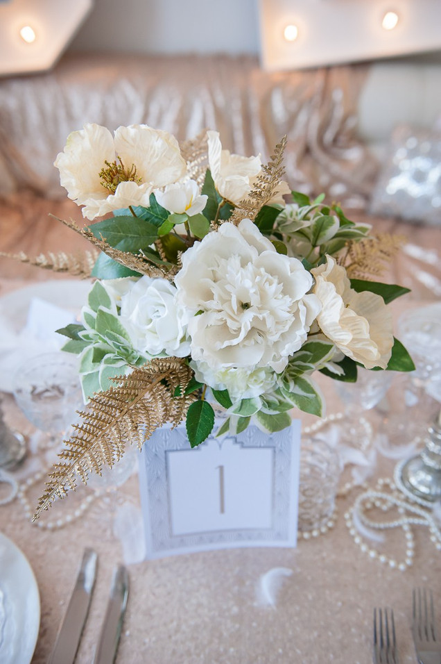 Silk Flower Wedding Reception Table Arrangement